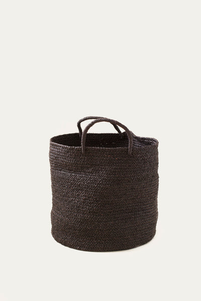 Medium Braided Raffia Basket - Black