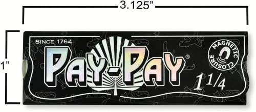 Pay-Pay 1 1/4 Negro Extra Lightweight Rolling Papers with Magnetic Closing (25 Books)