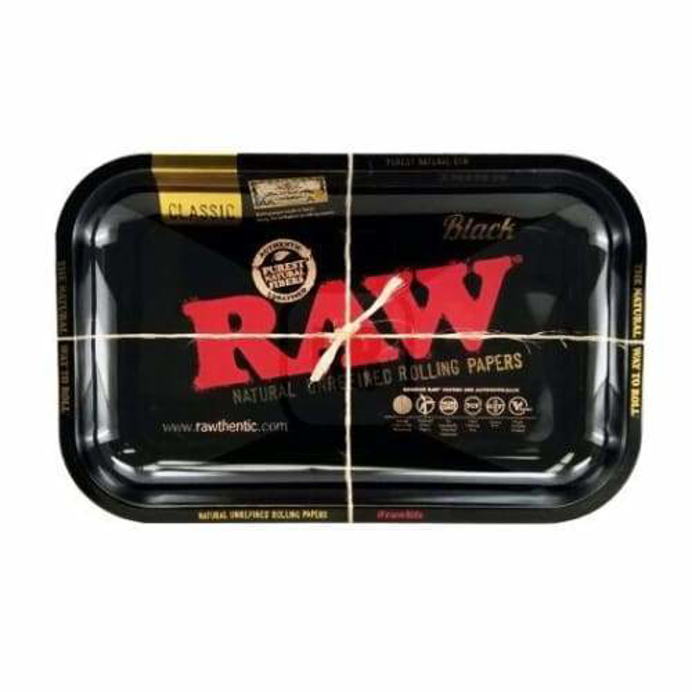 Raw Metal Black Rolling Tray Available in Small or Large (1 Count)