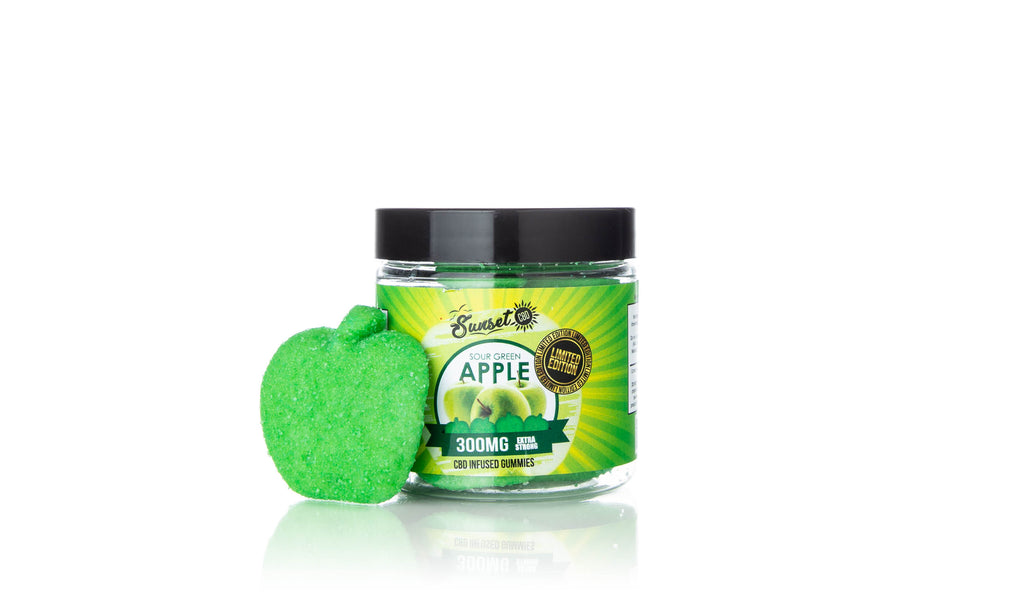 Sunset CBD Infused Sour Green Apple Gummies
