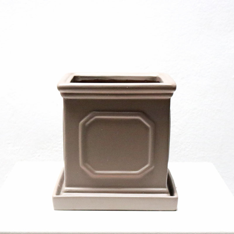 Square Grey Planter with Saucer (Large)