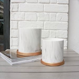Marble Planter with Gold Saucer (2 SIZES)