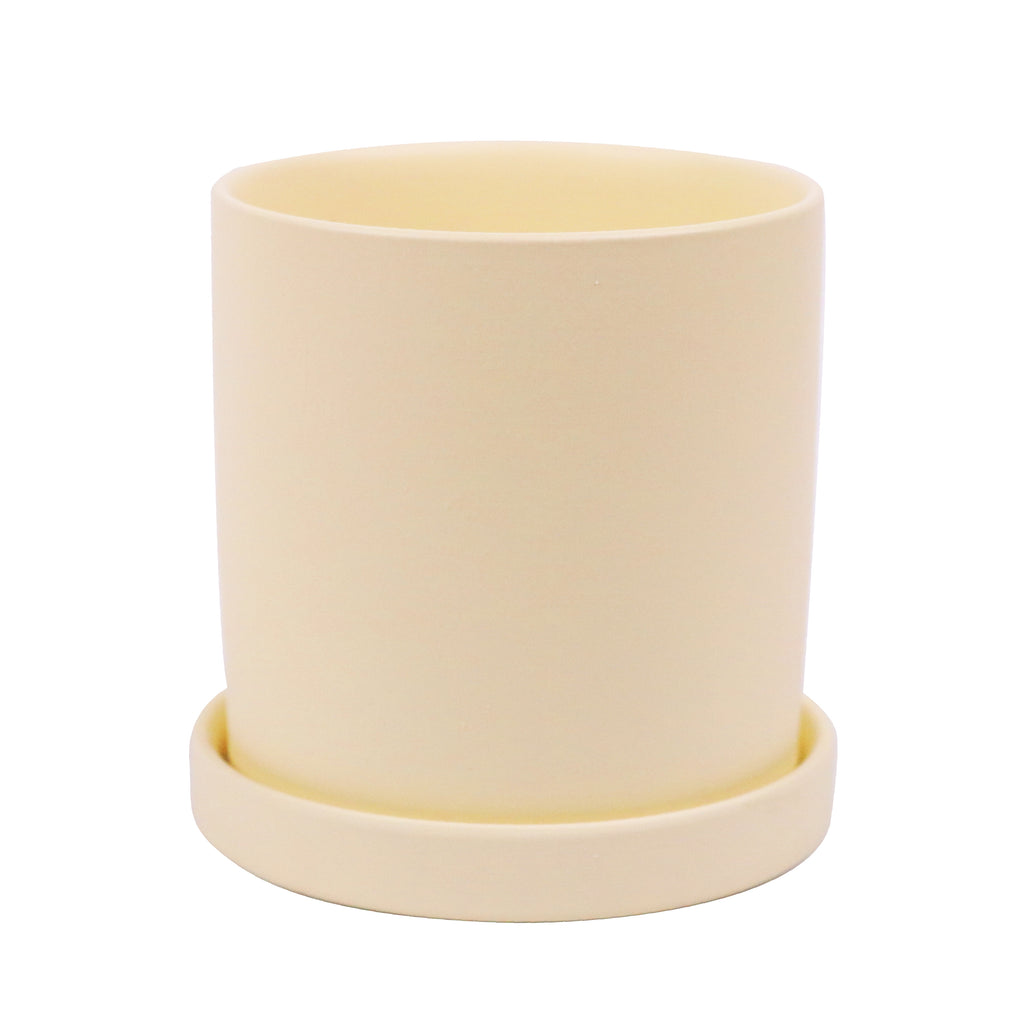 Pastel Yellow Ceramic Planter with Saucer 9cm