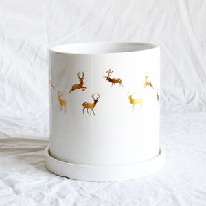 White Glossy Planter with Gold Reindeer