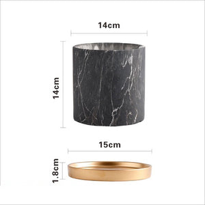 Black Marble Planter with Gold Saucer (2 SIZES)