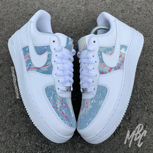 NIKE AF1 - BLUE ACID WASH PAINT SPLAT DENIM - MattB Customs