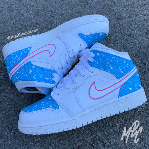 NIKE JORDAN 1 MID - COTTON CANDY PAINT SPLAT - MattB Customs