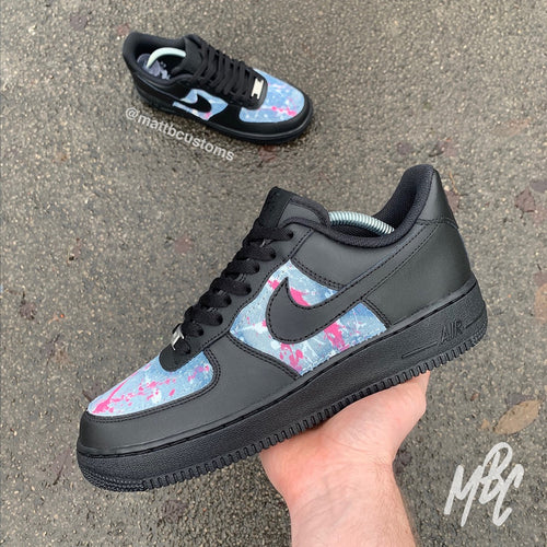 NIKE AF1 BLACK - ACID WASH PAINT SPLAT DENIM