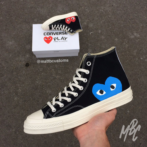 CONVERSE x CDG HIGH - BLUE HEART - MattB Customs