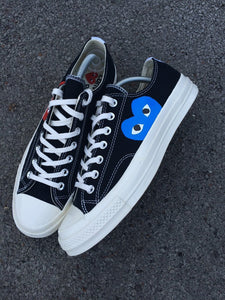 CONVERSE x CDG BLACK LOW - BLUE HEART - MattB Customs