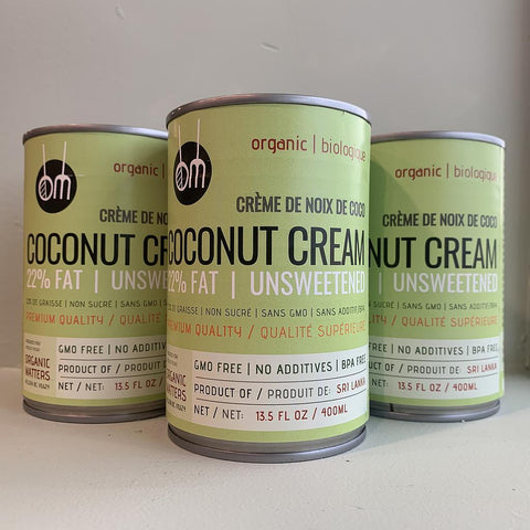 ORGANIC COCONUT CREAM, 22% fat, unsweetened