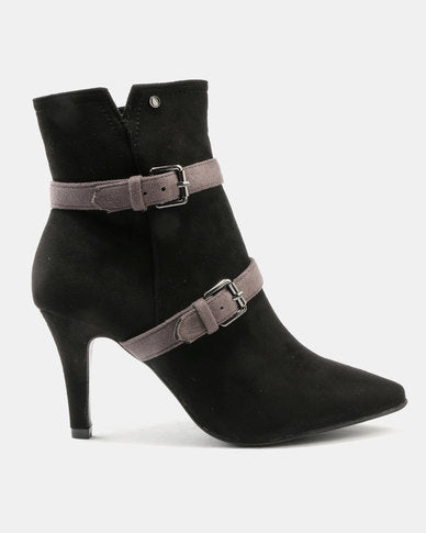 Black and Grey Suede Boots