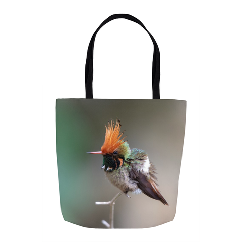 Image of Rufous-crested Hummingbird 16-inch Tote Bag