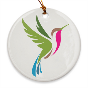 Hummingbird Spot Logo Porcelain Ornament