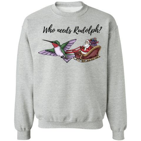 Who Needs Rudolph w/text Men's Holiday Pullover Sweatshirt