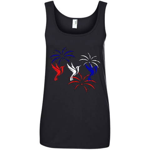 Red White and Blue Hummingbirds Tank Top