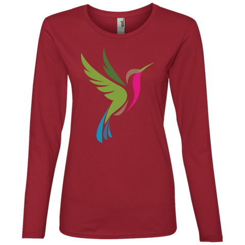 Image of Hummingbird Spot Color Logo Ladies' Lightweight LS T-Shirt