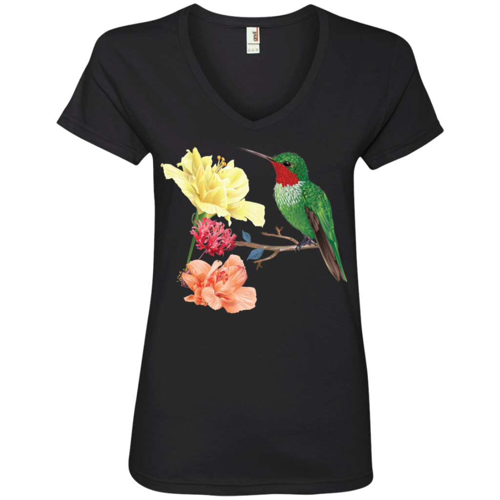 Hummingbird with Flowers Ladies' V-Neck T-Shirt