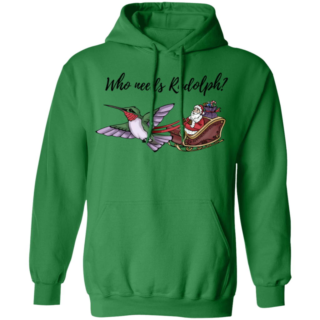 Who Needs Rudolph w/text Men's Holiday Pullover Hoodie