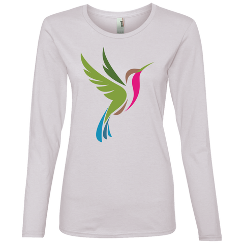 Image of Hummingbird Spot Color Logo Women's Lightweight LS T-Shirt