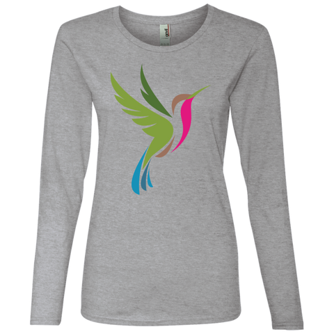 Hummingbird Spot Color Logo Ladies' Lightweight LS T-Shirt