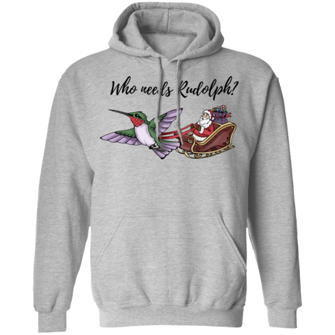 Image of Who Needs Rudolph w/text Unisex Pullover Hoodie