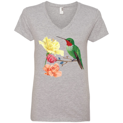 Image of Hummingbird with Flowers Ladies' V-Neck T-Shirt