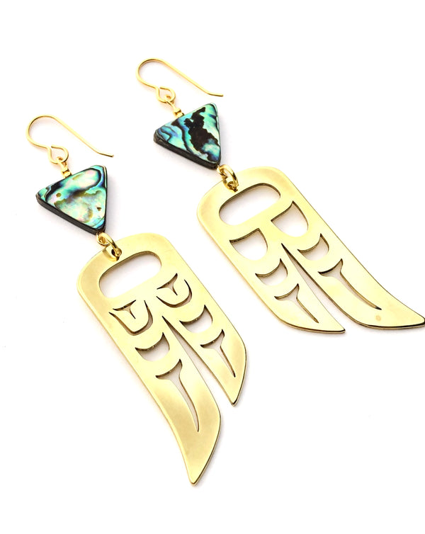 Lovebirds Wings on Abalone Hooks - B.YELLOWTAIL