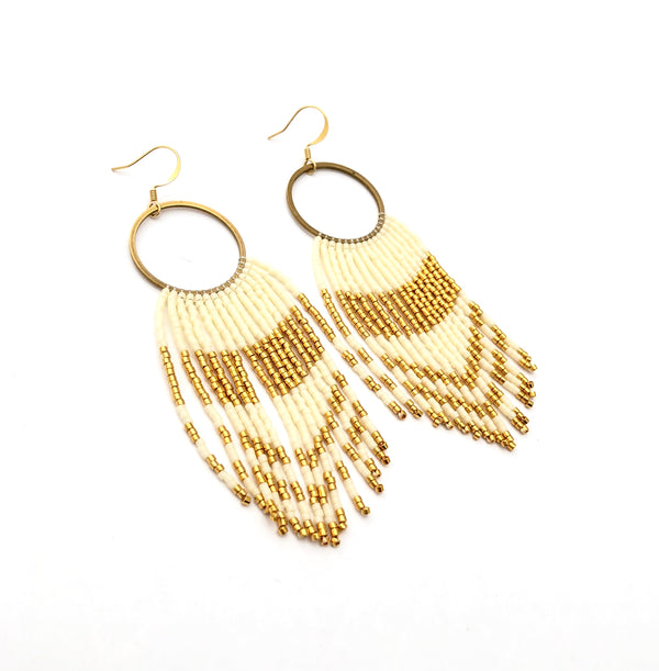 Cirlce & Fringe Earrings - Ivory