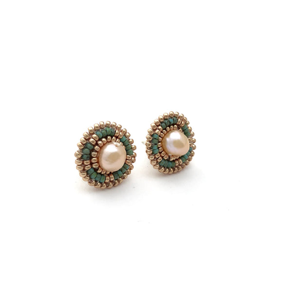 Cheyanne Symone Freshwater Pearl Studs - Turquoise