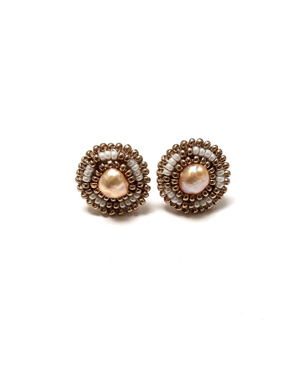 Cheyanne Symone Champagne Gold Freshwater Pearl Studs