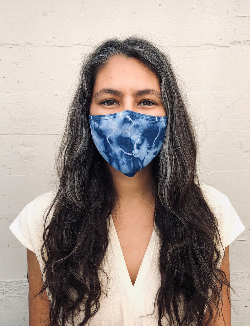 Tie-Dye Cotton Face Mask-Navy - B.YELLOWTAIL