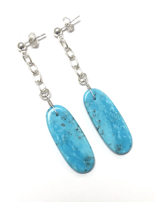 Garcia Sterling Silver & Turquoise Oblong Drops - B.YELLOWTAIL
