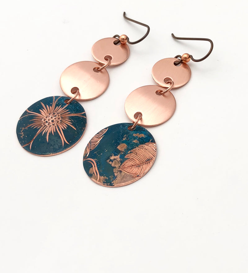 Wild Rose Copper Earrings - Colette