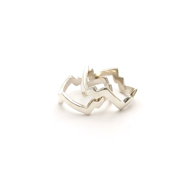 Zig Zag Lightning Ring - High Polish