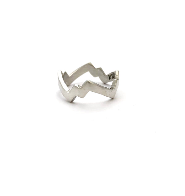 Zig Zag Lightning Ring - Satin Polish