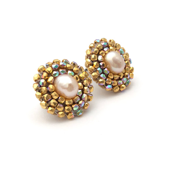 Cheyanne Symone Gold Pearl Studs