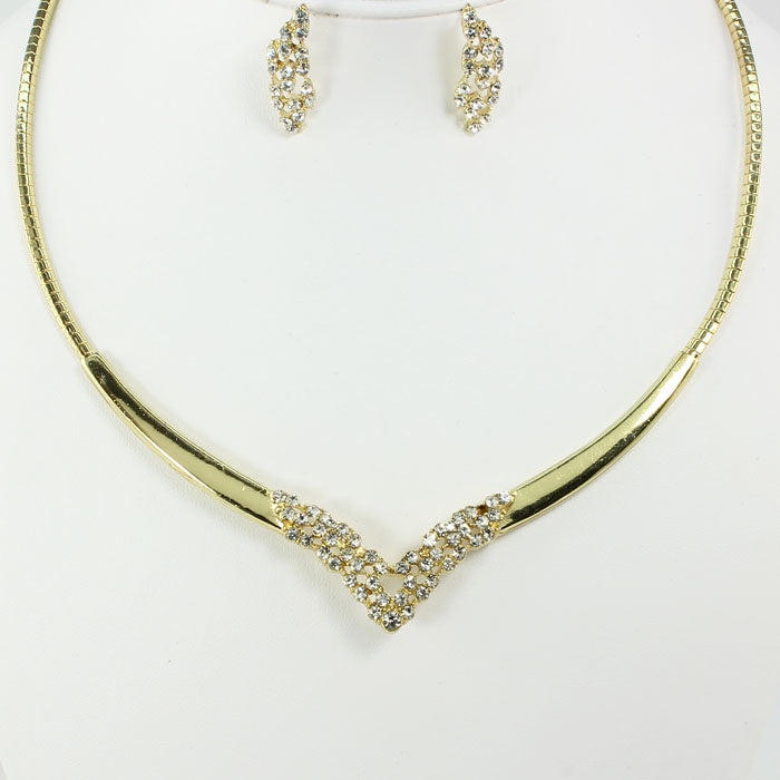 Diamond choker necklace set
