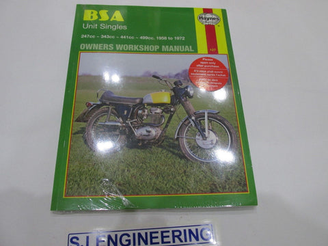 BSA Unit Singles B25 C15 B40 B44 B50 Haynes Workshop Manual
