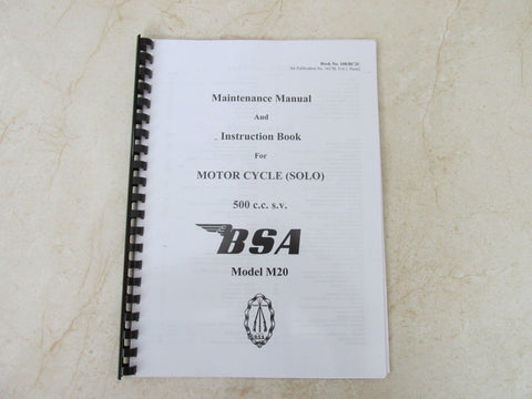 BSA M20 Manual WD M20 Owners Workshop Maintenance Manual