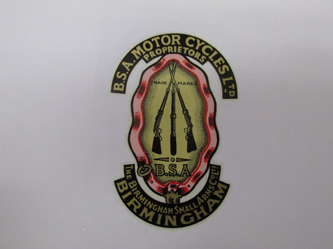 BSA MOTORCYCLES GARTER TRANSFER STICKER DECAL BADGE