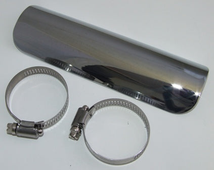 "Universal Chrome Motorbike Exhaust Heat Shield 7"" long 1-1/2"" to 2"" Outer"