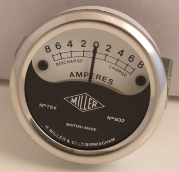 "MILLER REPLICA 2"" SHALLOW AMMETER FOR HEADLAMP FITTING 8-0-8 75V 832"