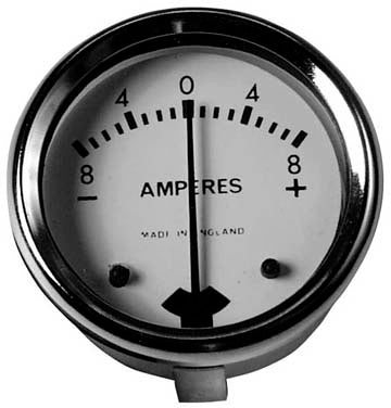 "8 amp Ammeter 1 3/4"" Inch White Dial Reading 8-0-8 Uk Made BSA Norton Triumph"