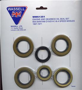 BSA BANTAM D10 D14 3 SPEED 4 SPEED OIL SEAL KIT 1967-1971