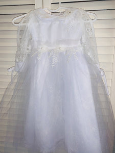 Baptismal gown with Lace Trim and pearls