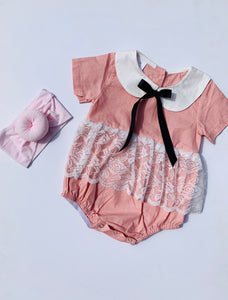 Madeline Lace Pink Romper