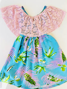 Miss Mestiza Dress Pink Palm leaves