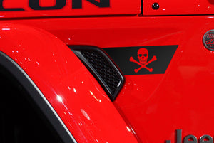 Premium Cast Matte Black Vinyl Jolly Roger Decals for Wrangler JL and Gladiator Fender Vents - TVD Vinyl Decals