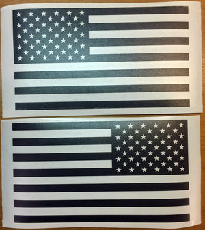 US Flag Decals - Premium Cast Matte Black Vinyl x2 - TVD Vinyl Decals